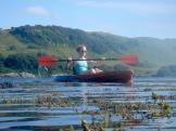 Taking a turn on the kayak